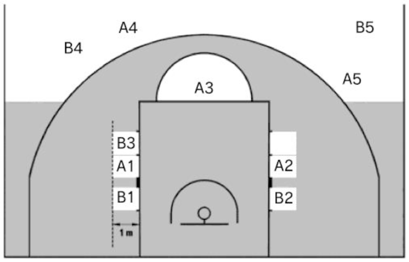 フリースローのエリア図