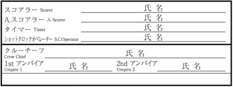 スコアシート最終審判サイン記入サンプル